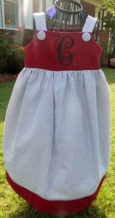 Carolina Gameday Seersucker Initial Dress  by SilverThreadsbyRonda, $35.00