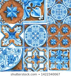 Design for ceramic tiles, majolica, watercolor ornament Decoupage Vintage, Decoupage Paper, Tile Design, Pattern Design, Classic House Exterior, Royalty Free Images, Create Yourself, Stencils, Illustrations