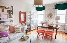 Colourful living/dining area of The Everygirl by decor8
