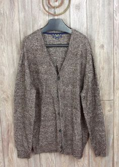 Club Room Cardigan Sweater L size Mens Brown Button Front Cotton Blend Comfort