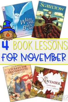 November read aloud lessons for kindergarten and first grade.  These books and lesson ideas will help deepen your students' reading comprehension skills.   The close reading lessons are designed to teach and strengthen your classrooms' reading strategies as well as offer phonics, phonemic awareness, grammar, and craft ideas. Books Featured White Owl, Barn Owl by Nicola Davies, Scarecrow by Cynthia Rylant, In November by Cynthia Rylant, A Turkey for Thanksgiving by Eve Bunting