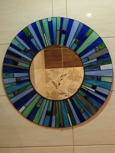 mosaico azul tiffany estilo manchado espejo de cristal