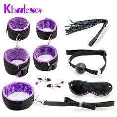 Hot Sale Sexy Toy 7 Pcs/set Kit Sex Toys for Couples, Nylon Sex Bondage Nipple Clameps Handcuffs Ball Gag Eye Mask Erotic Toy