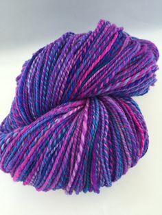 Cheshire Cat Inspired Handspun Yarn Bright by HappyHandspunYarn