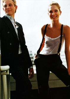 Erin Wasson In delicate, Swiss dot cami + suspenders