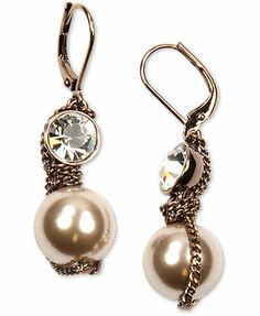 Givenchy Earrings, Brown Gold-Tone Imitation Pearl Crystal Drop Earrings