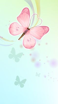 Pink Aqua Blue Butterflies iPhone Wallpaper