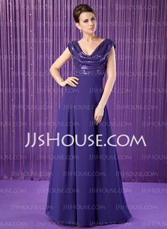 Mother of the Bride Dresses - $158.99 - A-Line/Princess Cowl Neck Floor-Length Chiffon Sequined Mother of the Bride Dress With Ruffle (008018936) http://jjshouse.com/A-Line-Princess-Cowl-Neck-Floor-Length-Chiffon-Sequined-Mother-Of-The-Bride-Dress-With-Ruffle-008018936-g18936