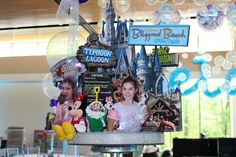 Disney Diorama Centerpiece with Photo Cutouts & Props for Resorts Themed Bat Mitzvah