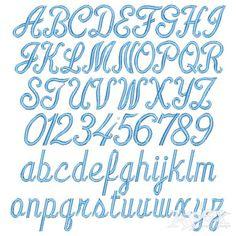 "Linus Script Embroidery Font. Size: 1"" , 3"" and 4"" Alphabet Sets"