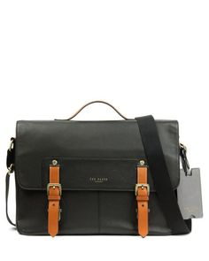 Leather messenger bag - Black | Bags | Ted Baker UK
