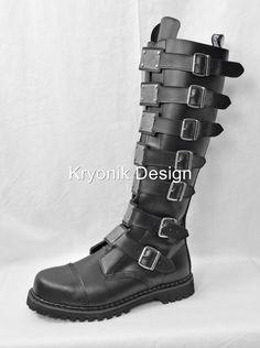 Demonia Reaper 30 Goth Gothic Punk Cyber Combat Knee High Boots Leather Men 4 14 | eBay