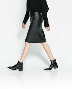 Black leather pencil skirt! I want you on me now!  Image 3 of STRAIGHT LEATHER MIDI SKIRT from Zara