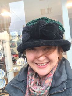 """Hat 013 - Black and Green velvet hat with a bow in front """"Hand Made by Lizzie Jackson"""" love it so much because it was one of the last things my sister chose for me..."""