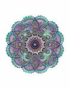 beautiful colorful teal and purple mandala. coloring in, mindfulness, wellness, mindfulness technique, mindfulness exercise