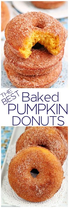 The best baked pumpkin donuts in the entire world! Super easy to make with only eight ingredients in the batter. Soft, tender and super moist. Pumpkin Donut Recipe Baked, Baked Donut Recipes, Baked Pumpkin, Pumpkin Recipes, Fall Recipes, New Recipes, Cooking Recipes, Pumpkin Pumpkin, Baked Donuts
