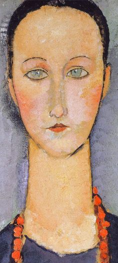 Woman with a red necklace (detail) by Amedeo Modigliani (fawnvelveteen)