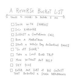 A Reverse Bucket List