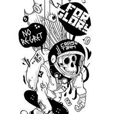 Be A HERO -Skate edition- TRASH @redbubble #illustration #monkey #animal #blacknwhite #skull #space #typo #skate #rider