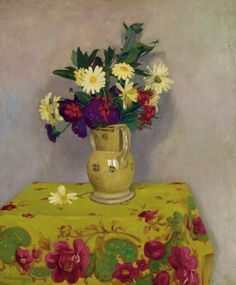 Yellow Daisies and various Flowers by Felix Vallotton. Oil on canvas. Pierre Bonnard, Paul Cezanne, Flower Vases, Flower Art, Maurice De Vlaminck, Yellow Daisies, Still Life Art, Container Flowers, Floral Illustrations