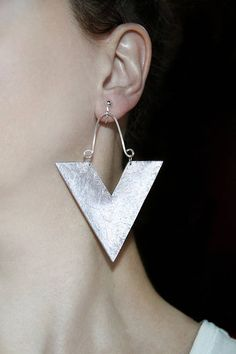 Pair of earrings Chunky jewelry Silver statement Large dangles