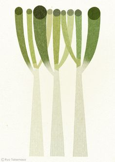 "Leeks. Illustration ""Welsh Onion"" by Ryo Takemasa."