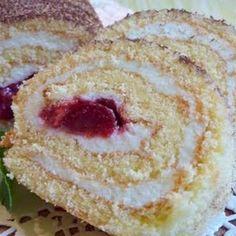 Túrós-meggyes piskótatekercs Recept képpel - Mindmegette.hu - Receptek Swiss Rolls, Roll Cakes, Food And Drink, Pie, Sweets, Condensed Milk, Pastries, Torte, Cake