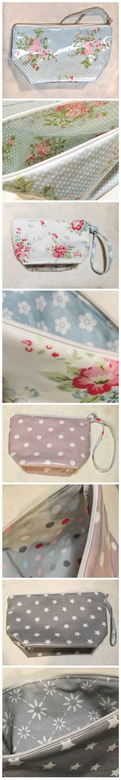 cosmetic bags made with oilcloth in the outside and cotton in the inside, mixing patterns of danish brands AU Maison, Krasilnikoff and GreenGate