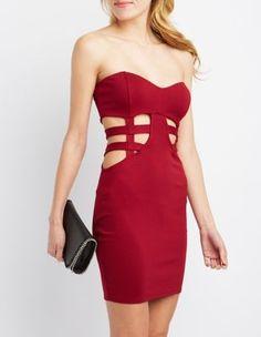 2/15/16   Brand/Designer: Charlotte Russe Dress Length: Mini-Dress Dress Silhouette: Bodycon Shoulder: Strapless Neckline: Sweetheart Closure/Back: Back Zipper