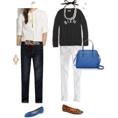 """White, black & blue"" by maomi on Polyvore"