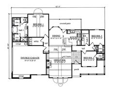 First Floor Plan of Country   House Plan 75044