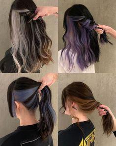 Hidden Hair Color, Hair Color For Black Hair, Cool Hair Color, Korean Hair Dye, Korean Hair Color, Hair Color Streaks, Hair Dye Colors, Hair Colora, Medium Hair Styles