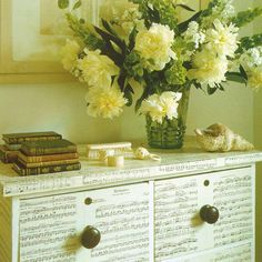 Chest of drawers decoupaged with sheet music
