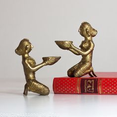 Indian Brass Sculptures Figurines Vintage Tribal by CozyTraditions