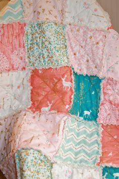 Crib Rag Quilt Baby Girl Crib Bedding Woodland by justluved