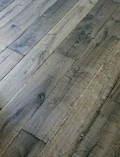 Manor Gray Custom Aged French Oak Floors / Coastal Living interview said this color wide plank oak flooring is best for sand and dog hair⚓ Castle Stones, Grey Hardwood Floors, Pine Floors, Grey Flooring, Grey Floorboards, Parquet Flooring, Bedroom Flooring, Floor Stain, Creation Deco