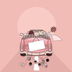 Wedding Countdown gallery, just married car with tin cans. Wedding Album, Wedding Cards, Wedding Invitations, Invites, Wedding Illustration, Cute Illustration, Just Married Auto, Wedding Countdown, Comic Styles