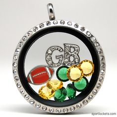 Green Bay football themed locket necklace from SportLockets.com.  Customize this jewelry with your own letters!