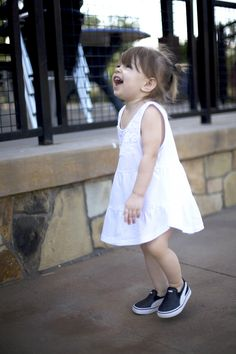 Giggles and fun in a white Nordstrom Rack dress and puma slip ons. Sponsored by Nordstrom Rack.
