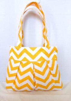 Pleated Hand Bag, purse or diaper bag in yellow chevron print.  Spring purse original Design via Etsy