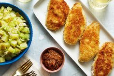 Chicken Milanese with Lemon Potato Salad & Fig Jam Chicken Milanese, Lemon Potatoes, New Recipes, Onion Recipes, Turkey Recipes, Potato Recipes, Fig Jam, Breaded Chicken, Sweet Tarts