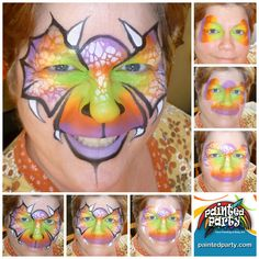Fantasy Dragon by Denise Cold of Painted Party Face Painting Dinosaur Face Painting, Monster Face Painting, Dragon Face Painting, Face Painting For Boys, Love Painting, Painting & Drawing, Face Painting Tutorials, Face Painting Designs, Boy Face