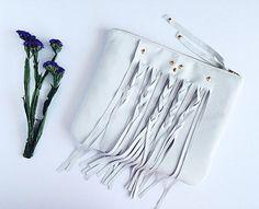 Coachella White Leather Fringe Clutch. Bohemian Clutch Pouch. Leather Fringe Boho Bag. Free US Shipping on Etsy, $65.00