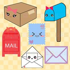 Mail Clipart - Postal Service Clip Art, Mailbox, Envelope, Kawaii, Planner, Scrapbook, Digital Stickers, Free Commercial and Personal Use