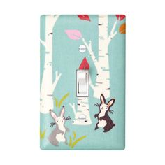 Woodland Bunny Rabbit Light Switch Plate Cover / Baby Girl Aqua Nursery / Children Kids Room / Birch Forest by Birch Fabrics on Etsy, $16.00