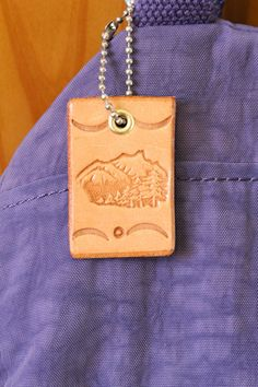Mountain Scene Bag Charm  Mountain Scene by TinasLeatherCrafts. Repin To Remember.