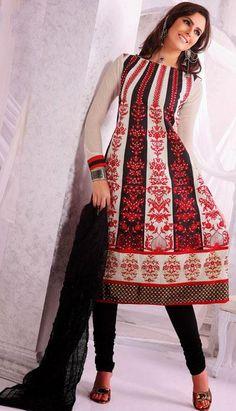 White and Black Cotton Stone Work Anarkali Salwar Suit 24203