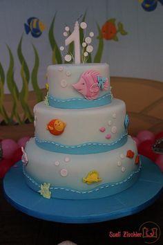 Bolo cenográfico fundo do mar Birthday Party Themes, 2nd Birthday, Cake Background, Fake Cake, Under The Sea Party, Baby Shark, Cake Designs, Cake Pops, Fondant