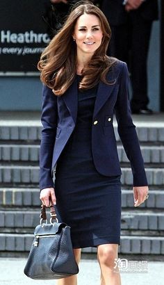 women's navy blue suit | 2013 Hot Sale Princess Kate Middleton Blue Skirt Suit Kate Middleton ...