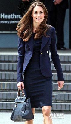 women's navy blue suit | 2013 Hot Sale Princess Kate Middleton Blue Skirt Suit Kate Middleton ...